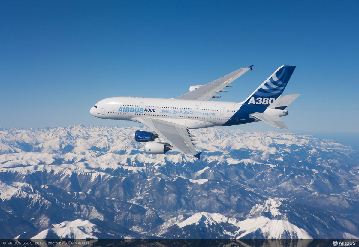 A350 Trent XWB engine first flight on A380 over pyrenees mountains