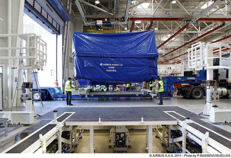 , Airbus in Nantes delivers first A350 XWB Centre Wing Box to Airbus in St Nazaire