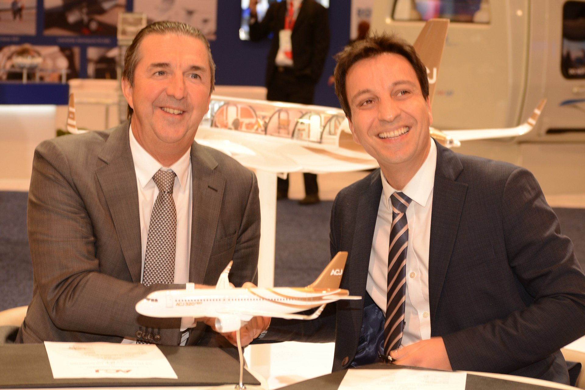 Airbus Corporate Jets (ACJ) and Sabena technics' newly-announced cooperation for self-protection systems (SPSs) is marked by (left to right): ACJ President Benoit Defforge and Daniel Soltani, Sabena technics Senior Vice president Sales and Business Development