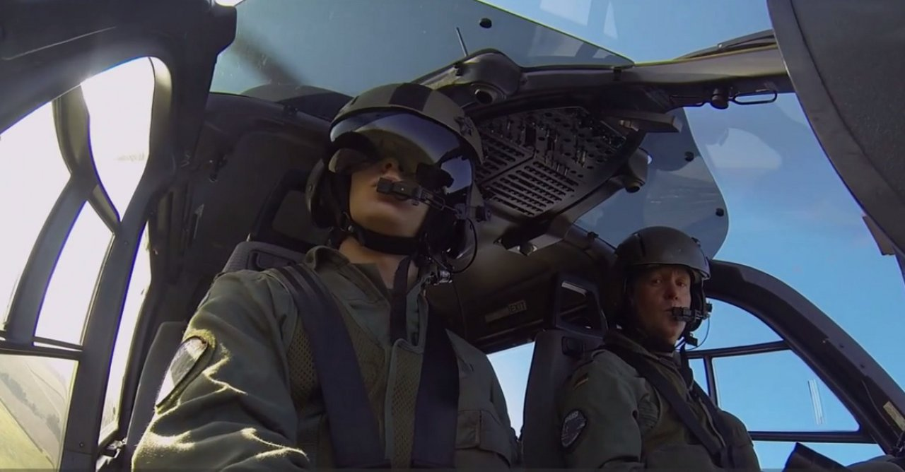 German Armed Forces soldiers aboard an H135 training helicopter