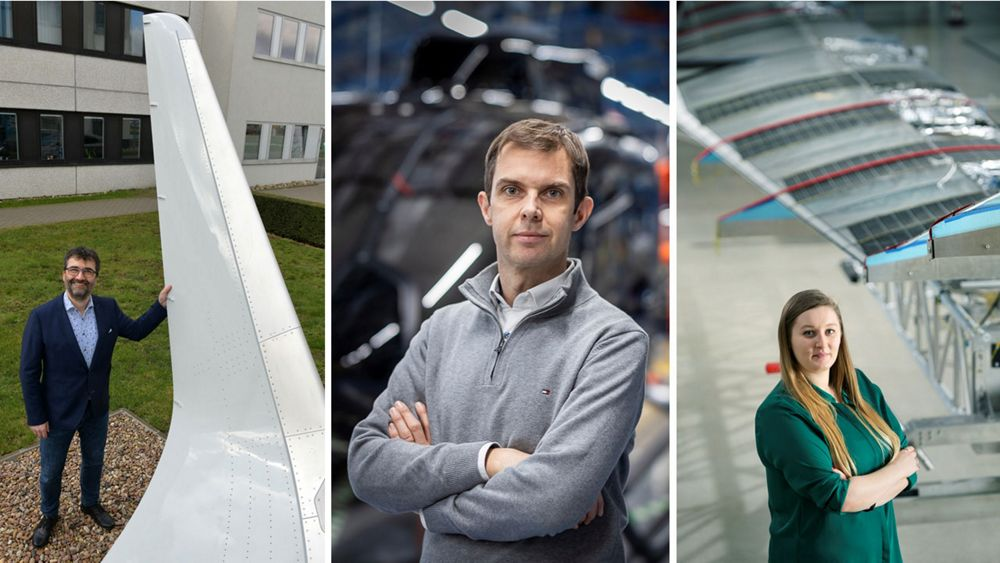 From left to right: Dr. Gerd Heller, senior aerodynamics expert at Airbus Commercial Aircraft; Elly Thompson, payloads system engineer at Airbus; and Luca Cossetti, research and technology innovative power solutions specialist at Airbus Helicopters