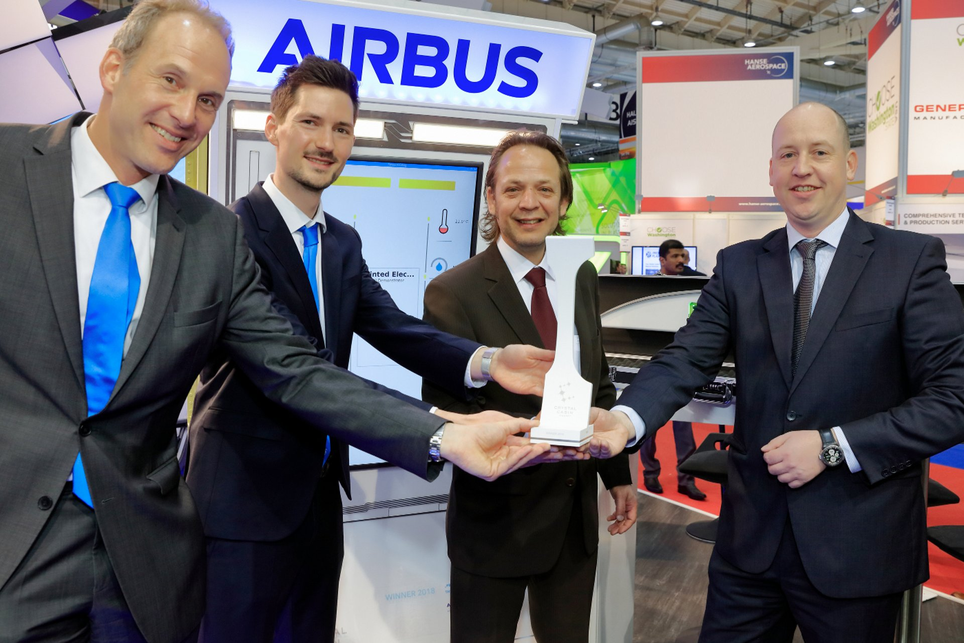 Airbus, in cooperation with Altran, has won the 2018 Crystal Cabin Award in the Material & Components category for its work on printed electrics – a new digital technology that uses printed conductive inks that could replace current electrical harnesses in an aircraft, reducing both weight and manufacturing costs