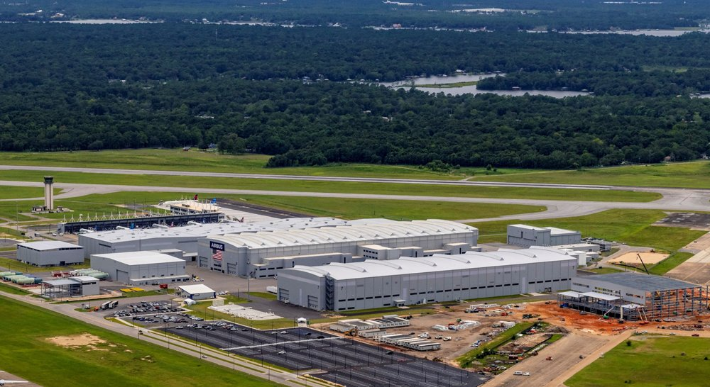 An aerial view of the Airbus U.S. Manufacturing Facility in Mobile, Alabama, which became the second A220 assembly site in 2020.