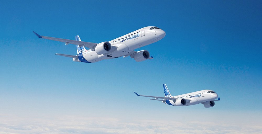 Depiction of a formation flight involving the Airbus A220 Family's two members: the A220-100 and A220-300.