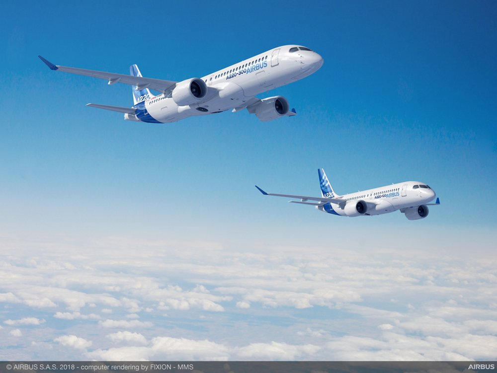 Specifically designed for the 100-150 seat market, the Airbus A220-100 and A220-300 have over 99 percent parts commonality between them, as well as the same pilot type rating – meaning operators can easily and economically operate both versions; the aircraft join the Airbus lineup to complement the A320 Family of single-aisle aircraft