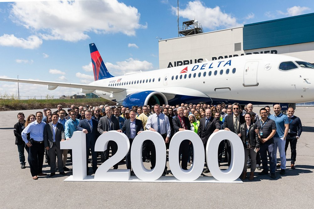 The delivery of Airbus' 12,000th commercial aircraft – an A220-100 for U.S. operator Delta Air Lines – is celebrated at the company's A220 final assembly plant in Mirabel, Canada.