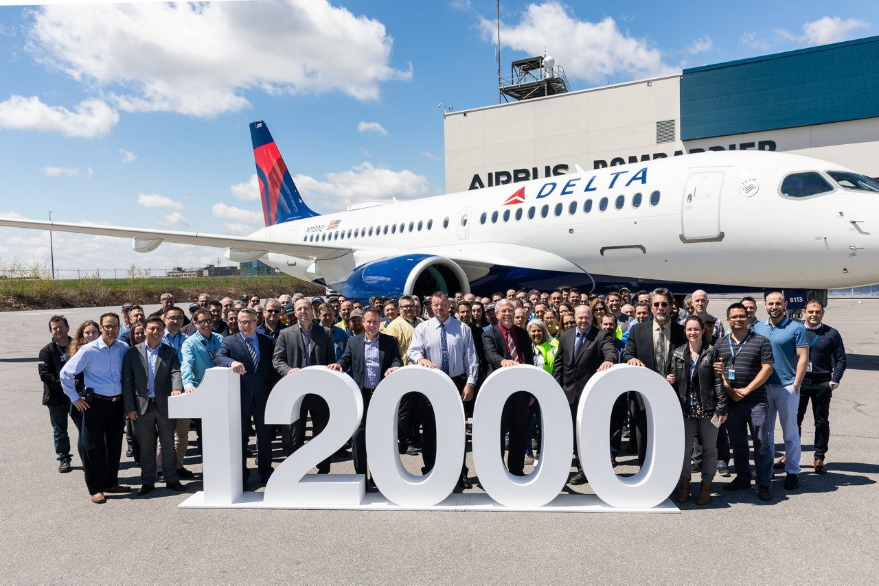 This Airbus A220-100 delivered to Delta Air Lines on May 20, 2019, at the A220 final assembly plant in Mirabel, Canada (just north of Montreal), is the 12,000th aircraft delivered by Airbus since the first in 1974