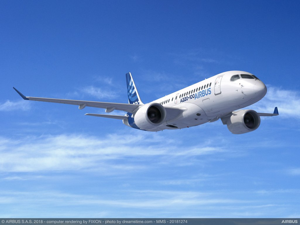 The smallest jetliner in Airbus' in-production product line, the A220-100 – along with the larger A220-300 variant – joins the Airbus product line to complement the existing family of A320 single-aisle aircraft