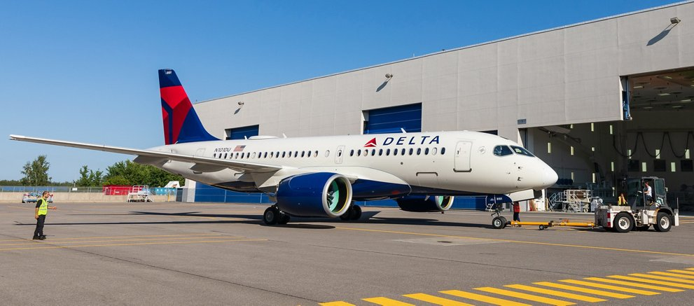 First Delta Air Lines A220 rolls out of paint shop in Mirabel 2
