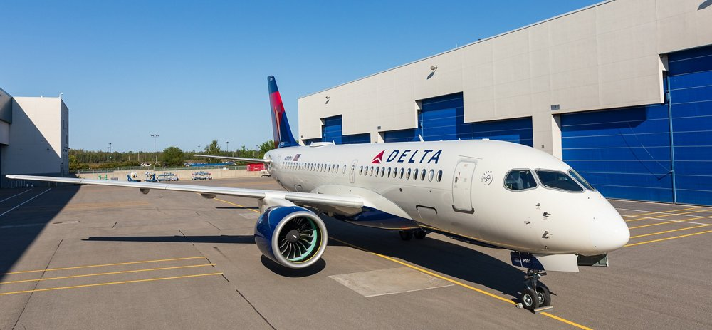 First Delta Air Lines A220 rolls out of paint shop in Mirabel 1