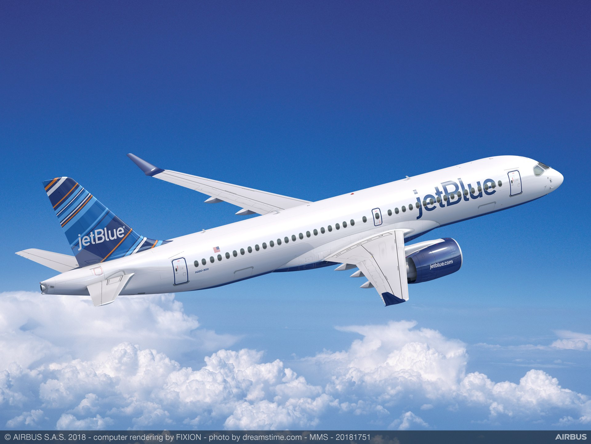 JetBlue Airways has ordered 60 A220-300 aircraft, the larger model of the new, industry-leading A220 series