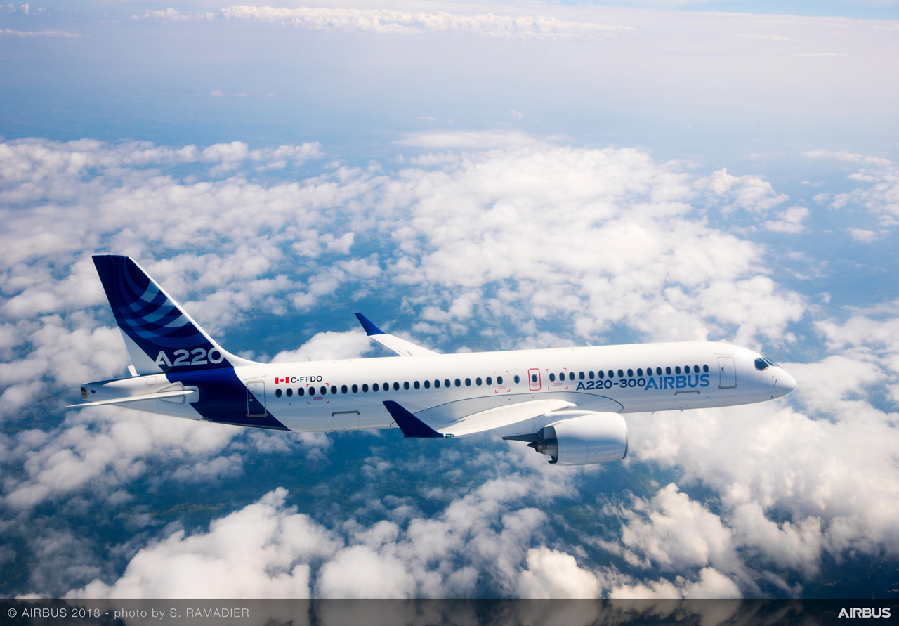 The A220 Family perfectly complements Airbus' existing best-selling A320neo aircraft product line; shown in flight is the A220-300, which is the A220 Family's longer-fuselage version