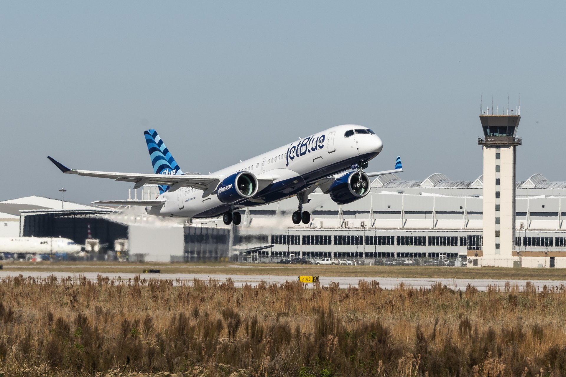 The inaugural test flight for JetBlue's first A220-300 was performed from the Mobile Aeroplex at Brookley in Mobile, Alabama, USA