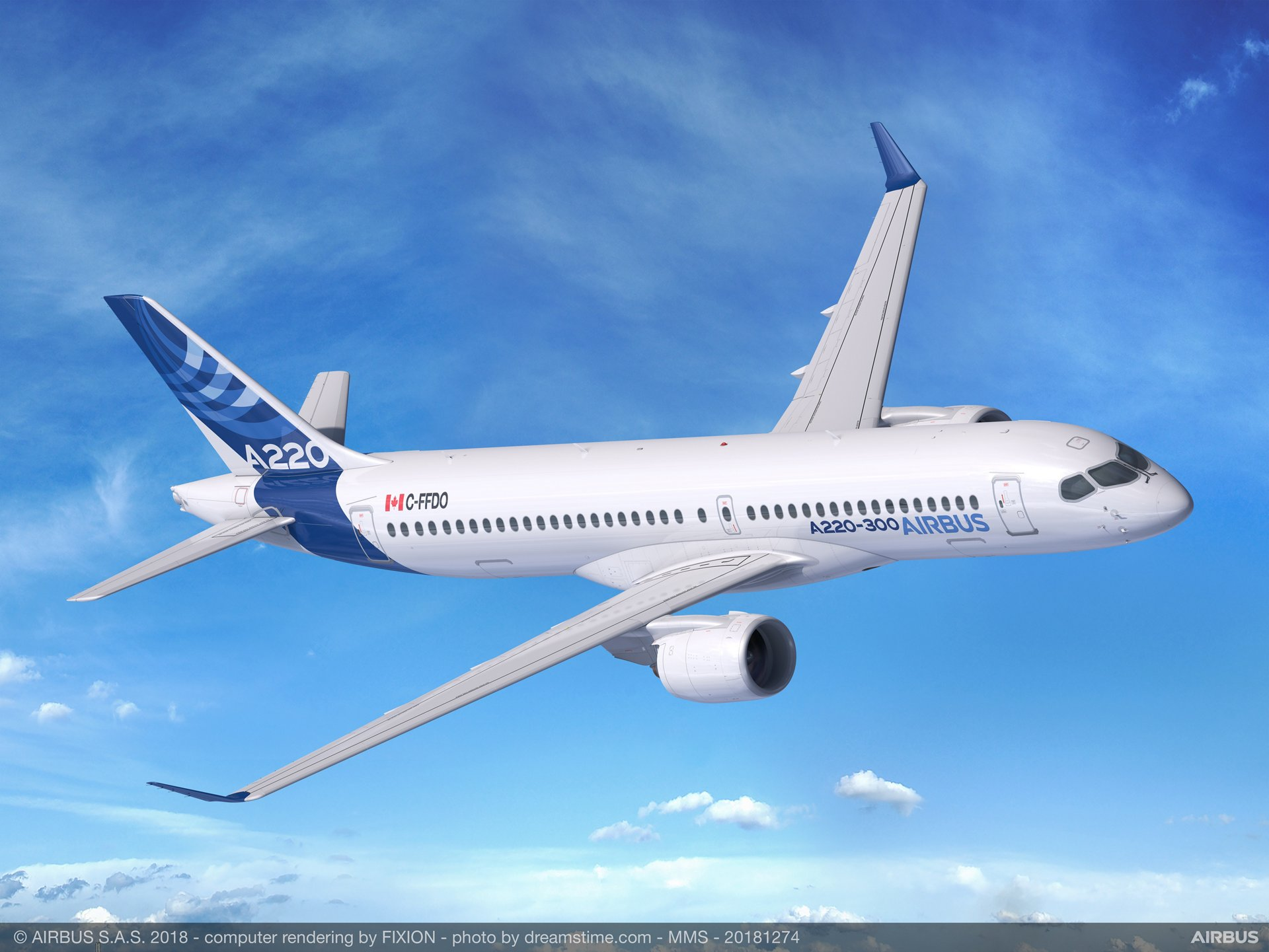 Powered by two Pratt & Whitney PurePower PW1500G geared turbofan engines, the Airbus A220-300 produces half the noise footprint of previous-generation aircraft, making it a true community-minded jetliner