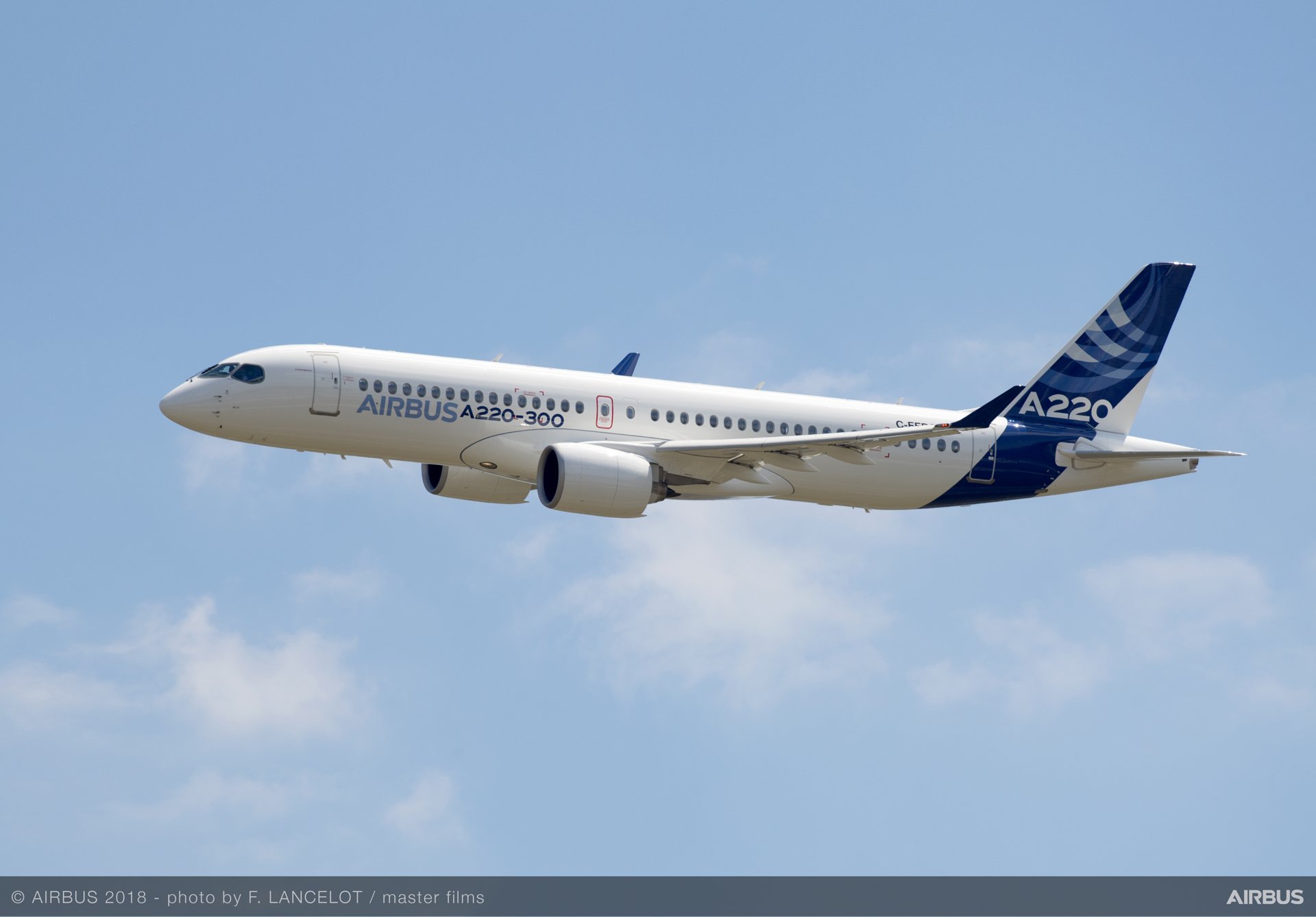 Production of the A220 Family aircraft, seen here in the larger A220-300 variant, for Airbus' U.S.-based customers will take place at the company's new assembly line in Mobile, Alabama