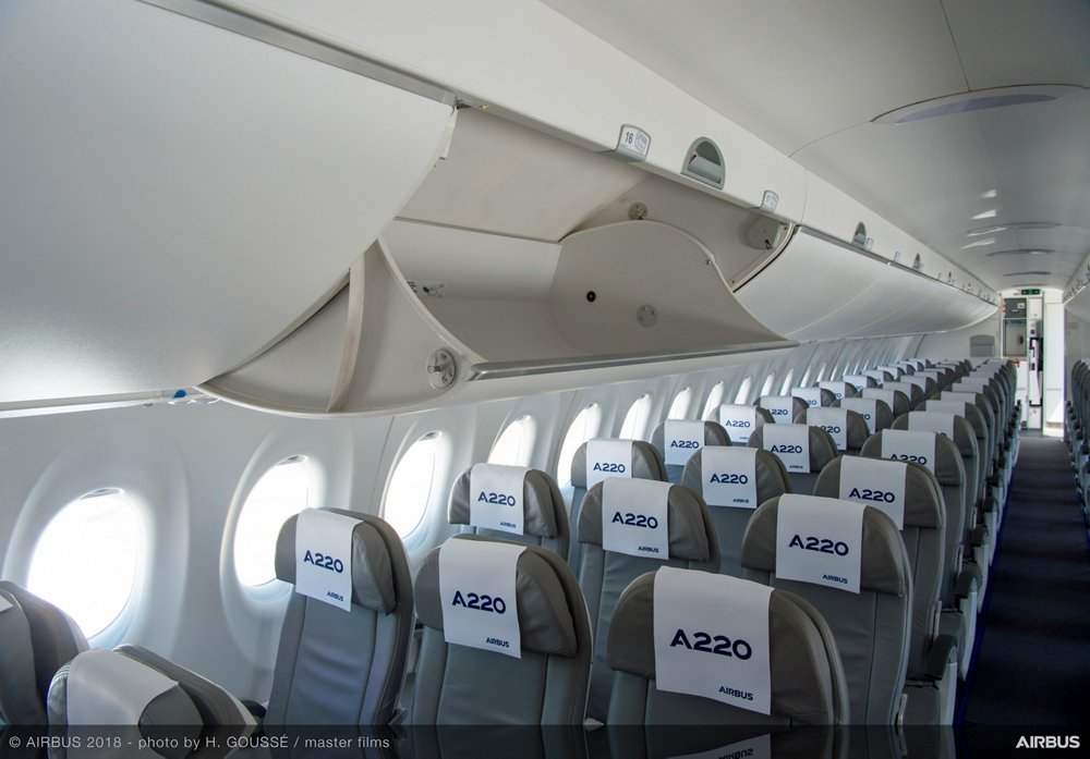 The Airbus A220 Family's cabin provides space where it matters the most, leading to an unparalleled passenger experience, with features including overhead bins with the largest stowage capacity in their class, extra-large windows and a cross-section that accommodates wide seats of 18 inches or more