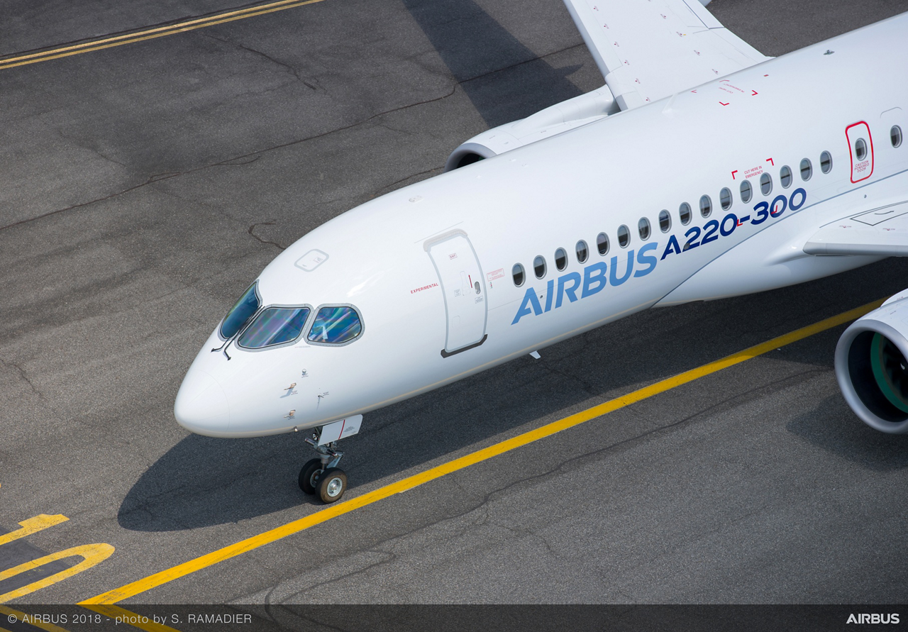 The A220-300 shows off its sleek lines after touching down at France's Toulouse-Blagnac Airport, where the aircraft made its first official appearance as a member of Airbus' A220 Family of single-aisle jetliners