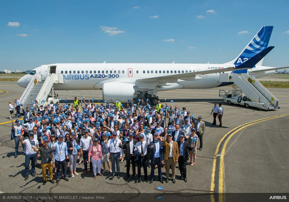 The A220: a fresh livery and integrated into Airbus' jetliner Family