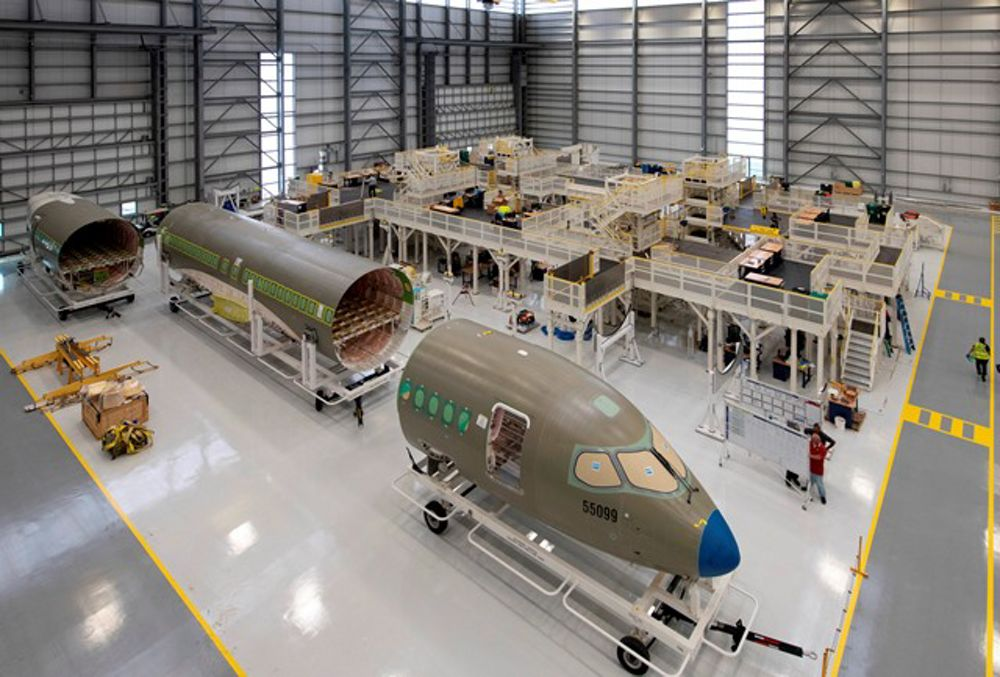 Airbus' A220 production facility in Mobile, Alabama, USA houses five primary assembly stations where major airframe component assemblies are joined