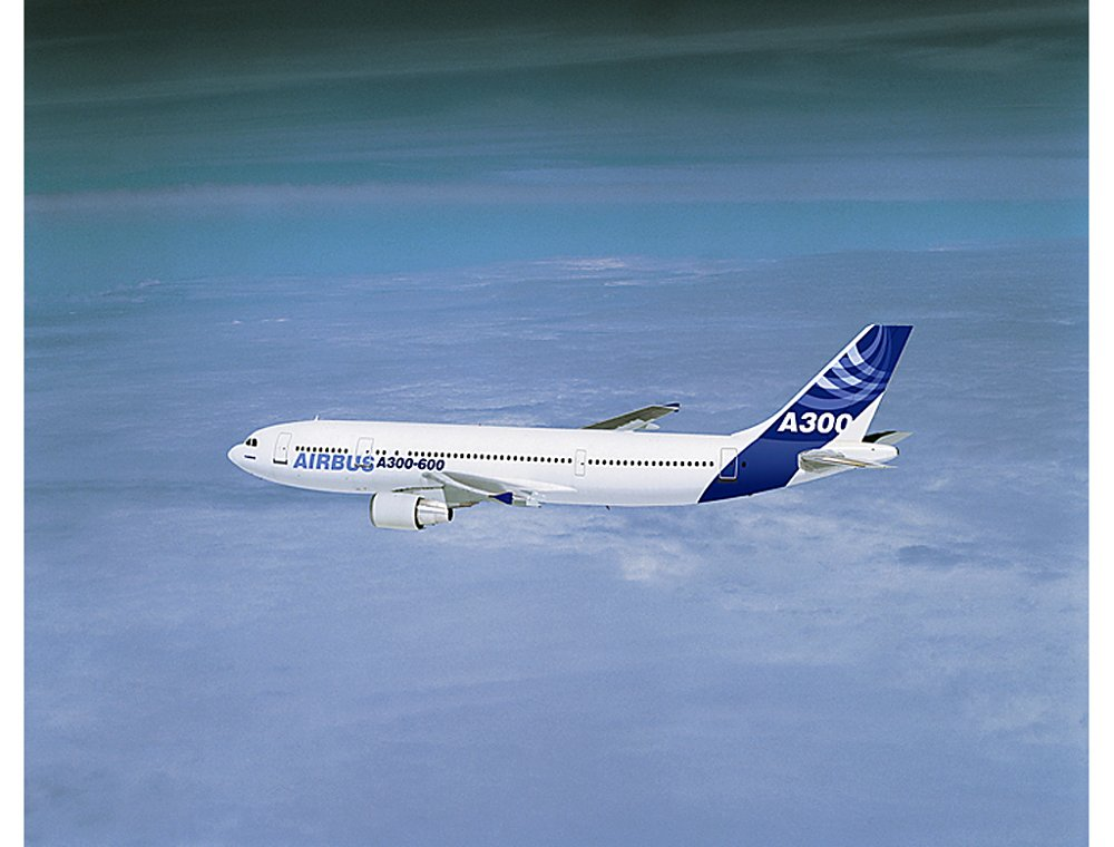 Airbus' cornerstone A300-600 passenger aircraft soars above the clouds?