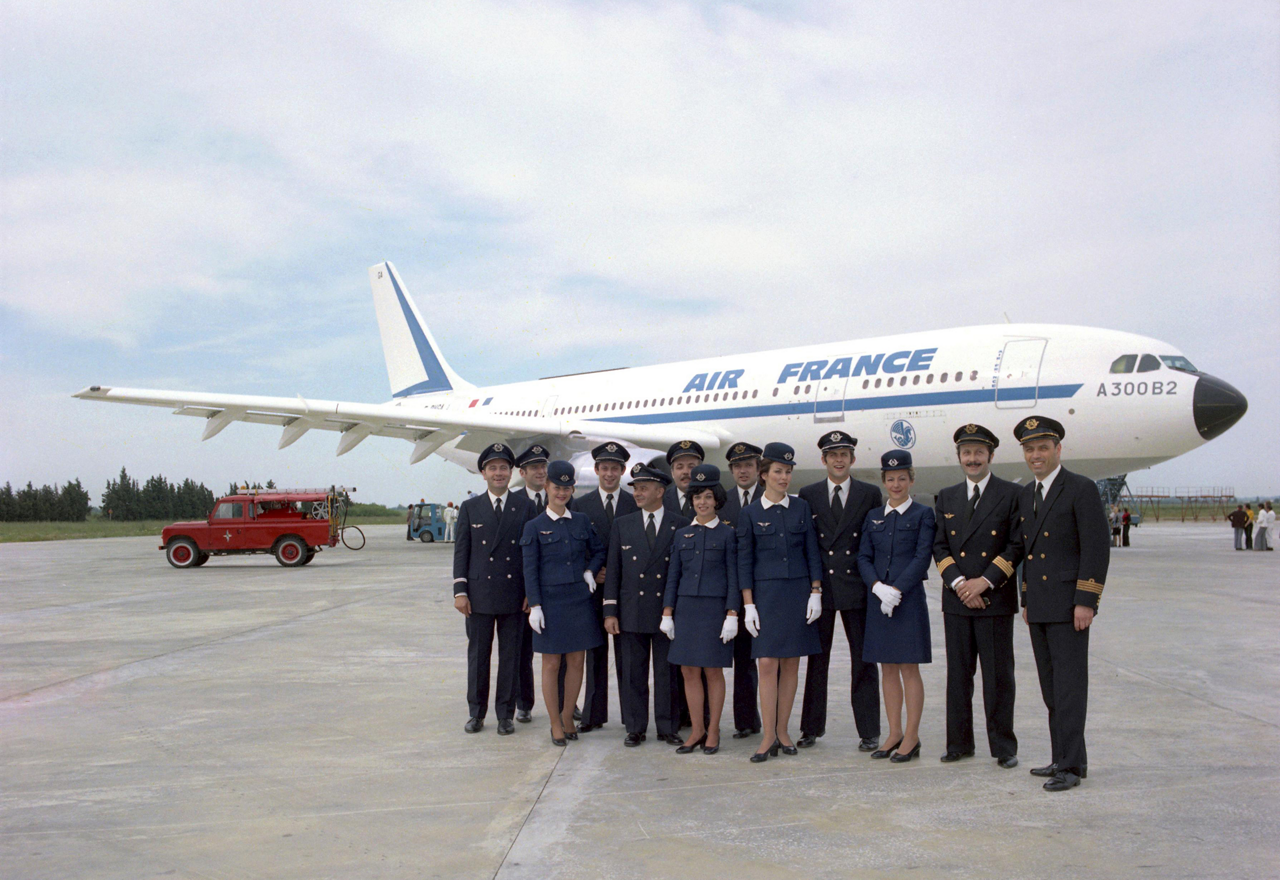 Air France pilots and crew mark the operator's first flight with an A300B aircraft, performed from Paris to London in 1973.