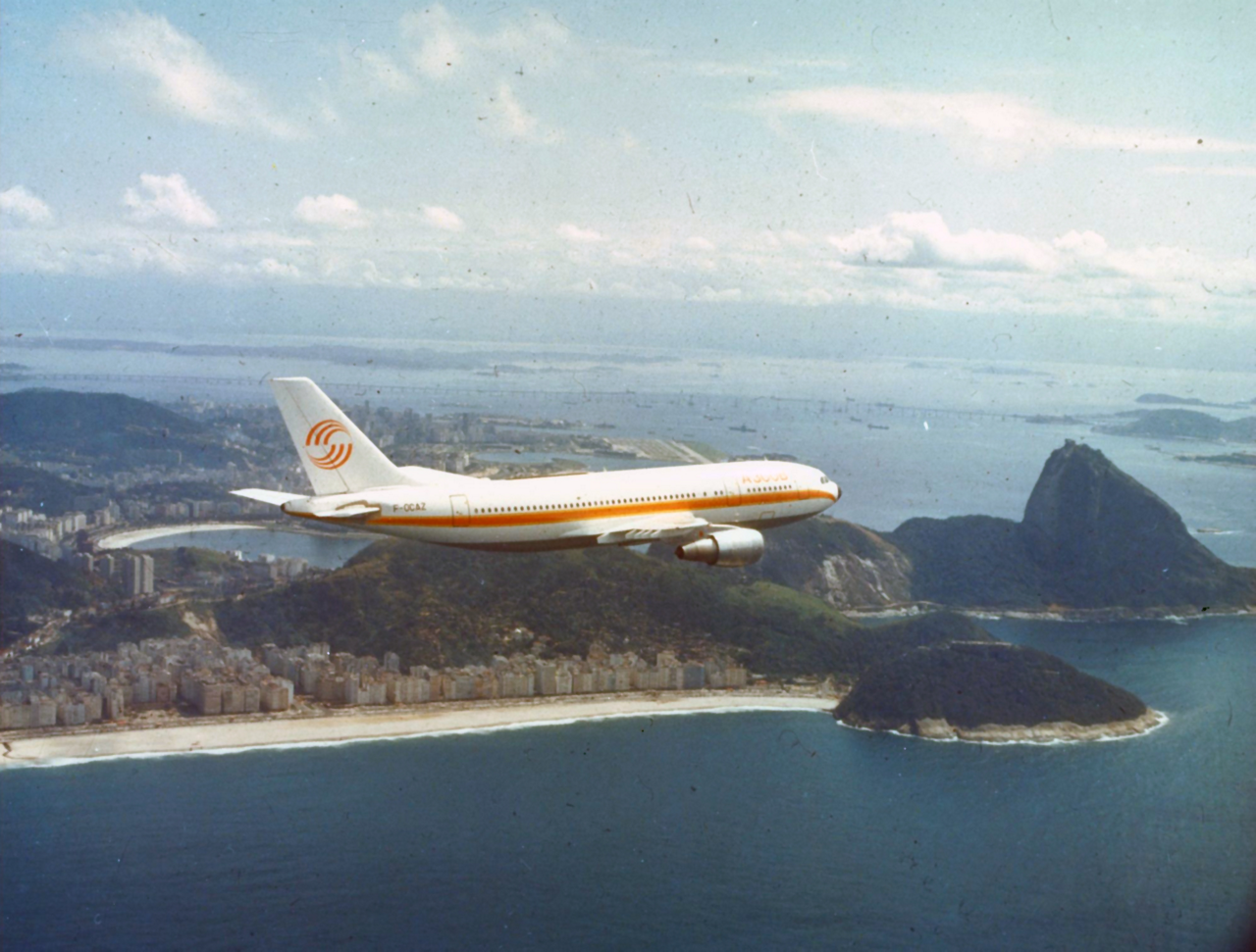 The Airbus A300 is shown in flight during this aircraft's 1973 tour across North and South America.
