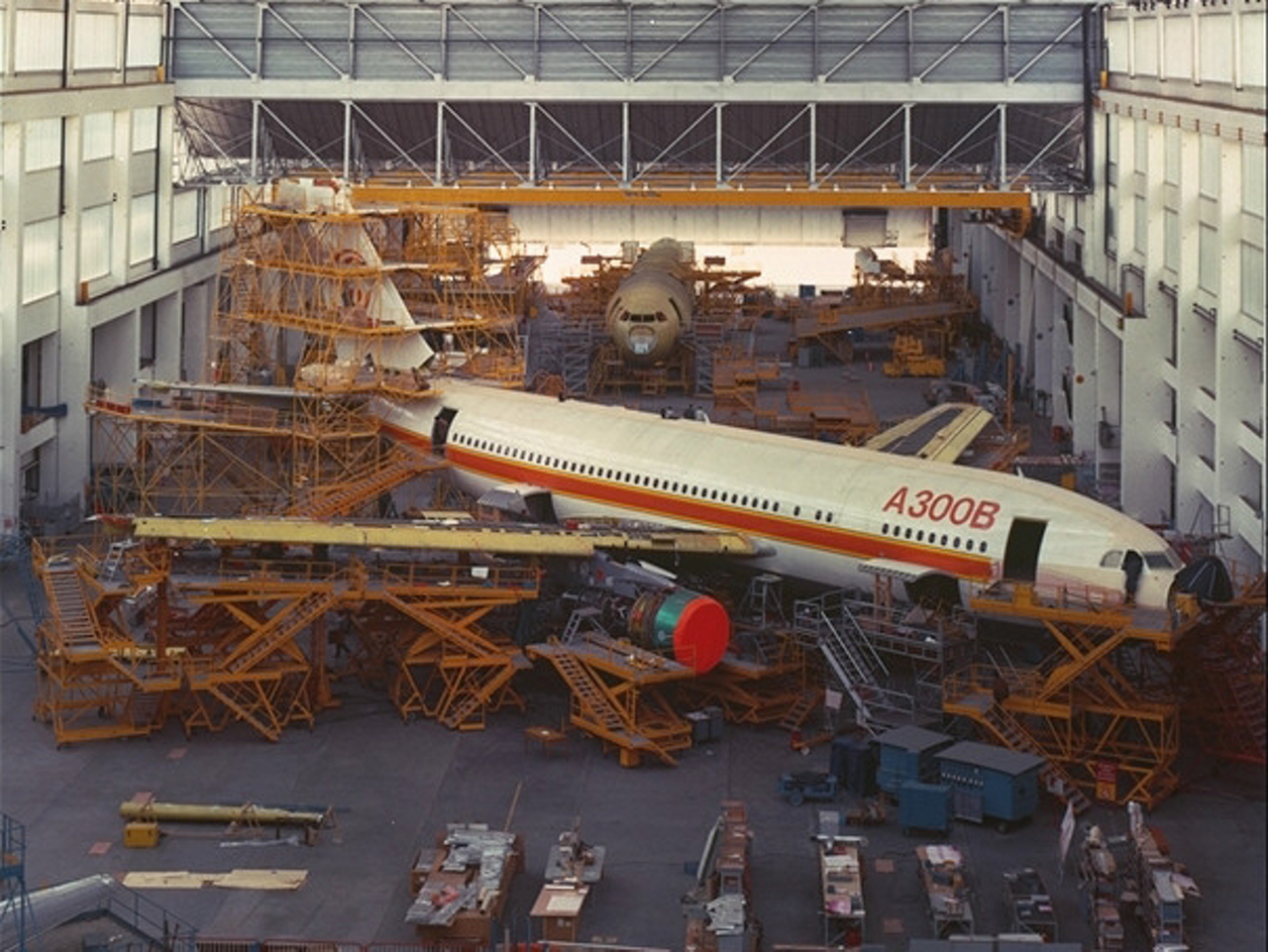 The first A330B4 for Eastern Airlines is assembled inside an Airbus production facility.