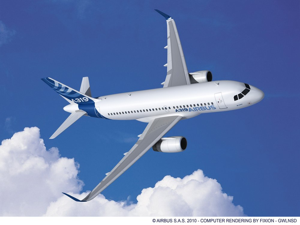 A computer rendering of Airbus' single-aisle A319ceo, equipped with Sharklets and in the company's blue and white livery