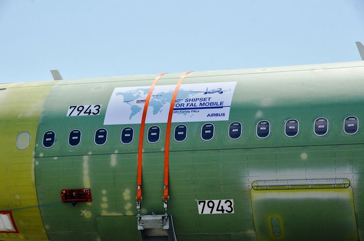 Close-up of 50th A320 Family fuselage arriving in Mobile, Alabama