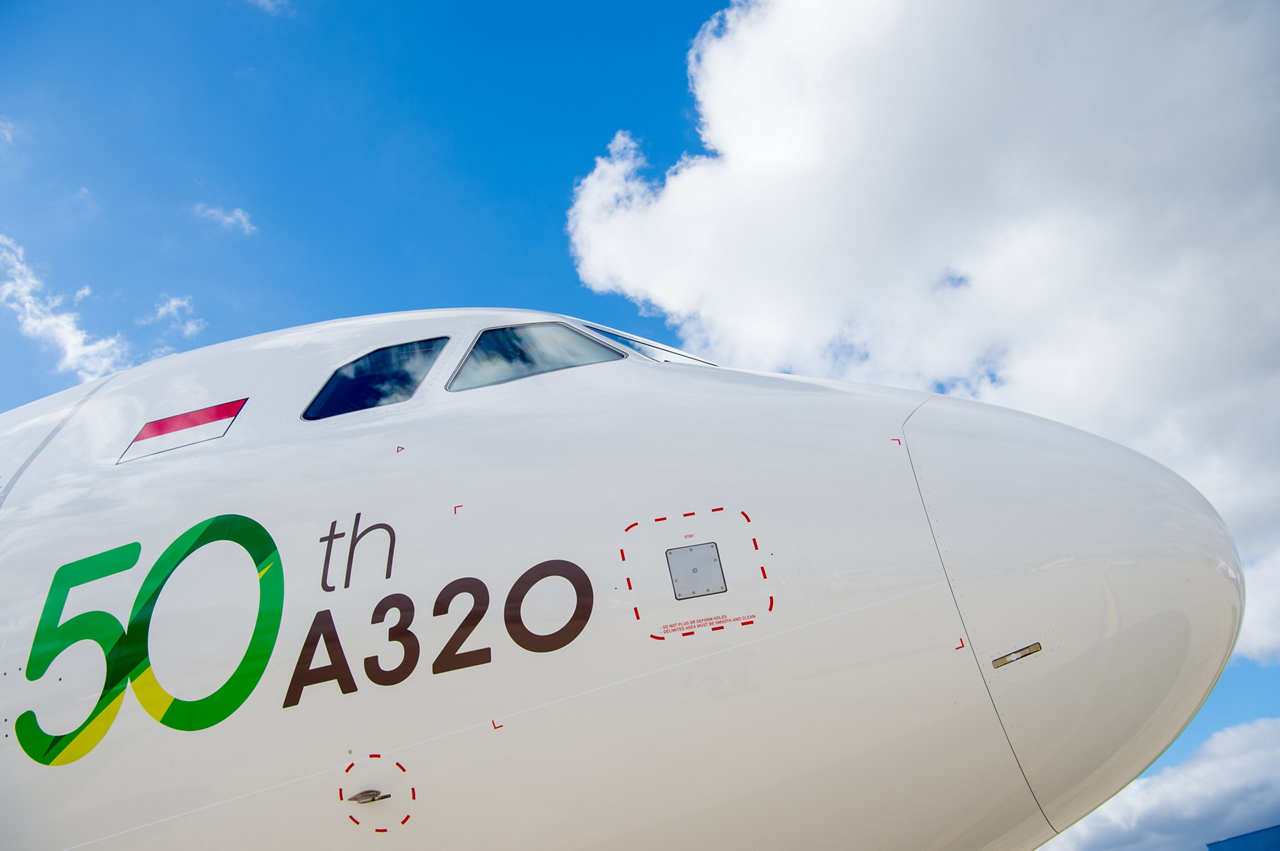 Citilink's newest A320neo has a special livery to mark the delivery of the airline's 50th A320 Family aircraft.