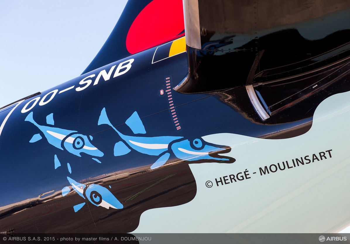 A320 Brussels Airlines Tintin at Blagnac-close up