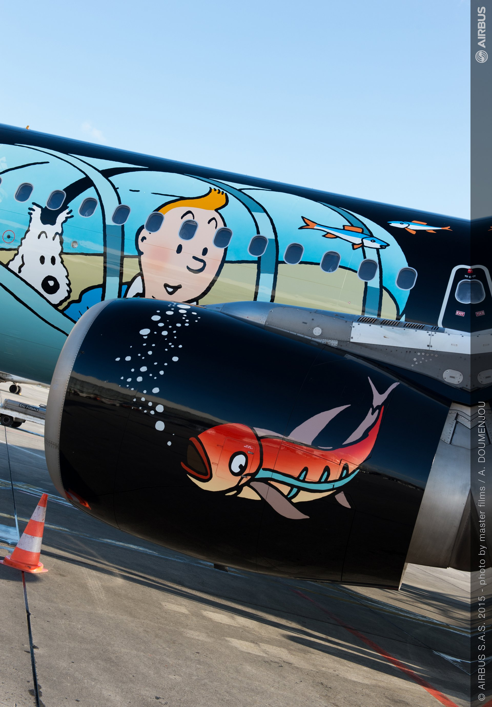 A320 Brussels Airlines Tintin at Blagnac-close up engine