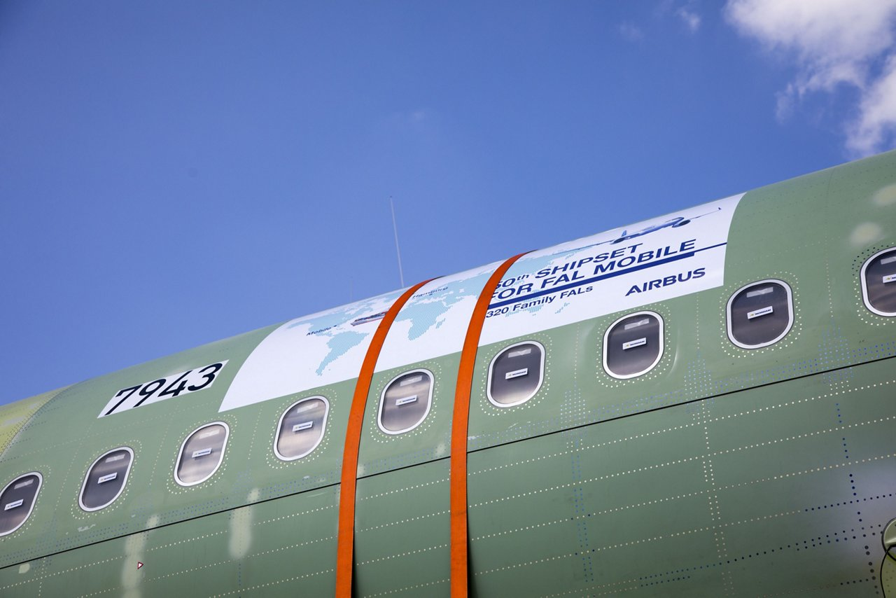 The 50th fuselage for a made-in-America A320 Family jetliner is shipped from Hamburg