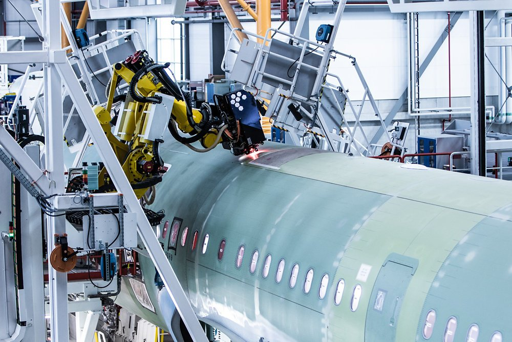 Airbus' newest production line in Hamburg, Germany drives efficiency with new standards in digitalisation and automation, including two seven-axis robotic arms that perform precise fuselage drilling