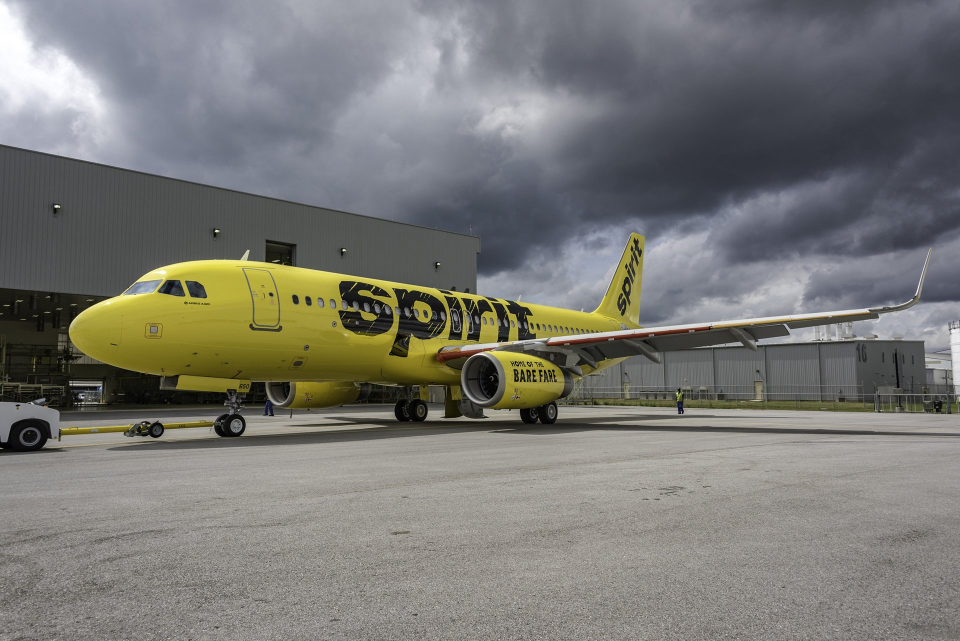 The A320 delivered to Spirit is seen here as it came out of paint earlier this month in Mobile, Alabama.