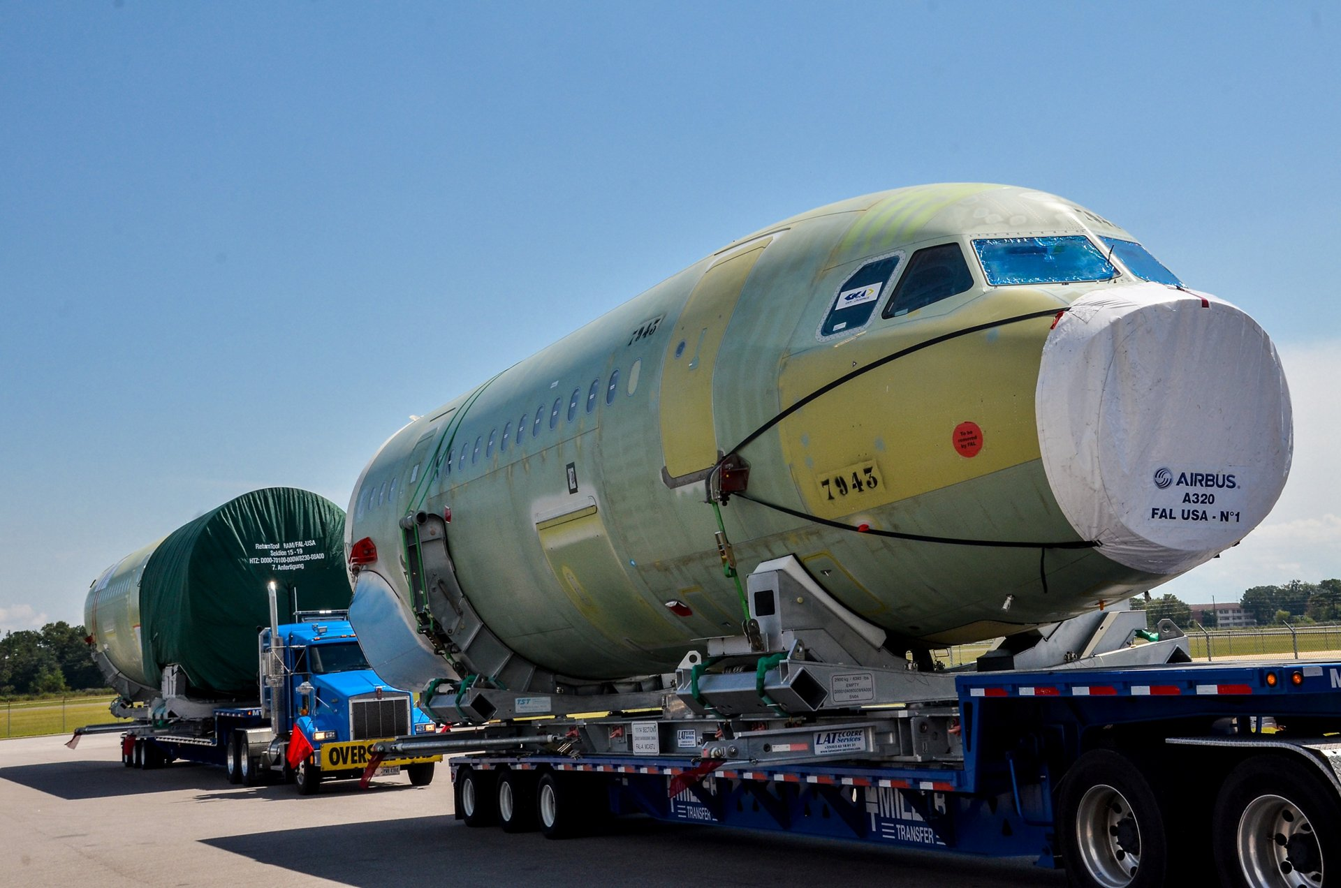 50th A320 Family fuselage transported for U.S. assembly at Mobile, Alabama