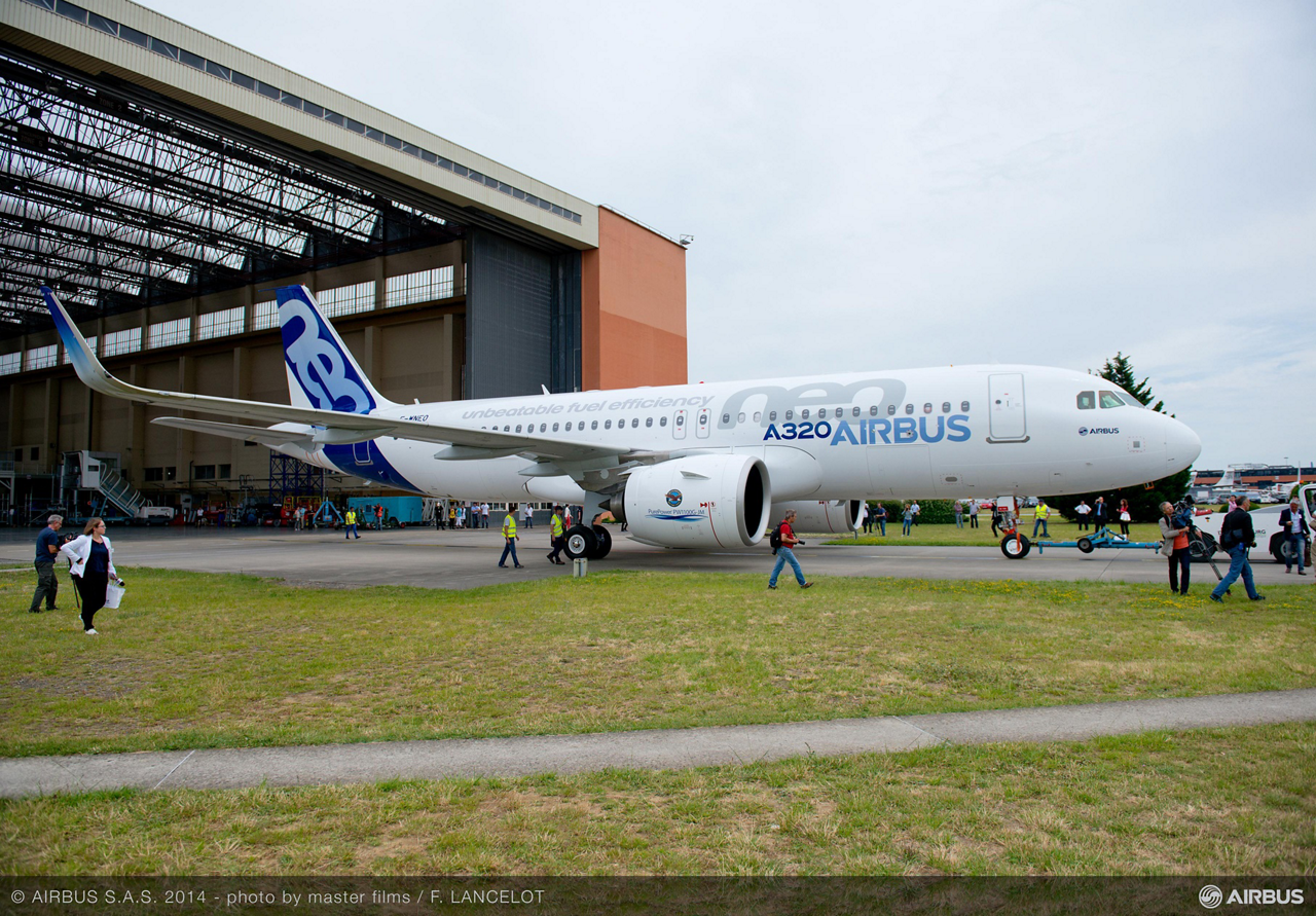 Airbus has completed assembly of the company's first A320neo (new engine option) jetliner – designated MSN6101 – following the aircraft's painting and mounting of its Pratt & Whitney PW1100G-JM engines -