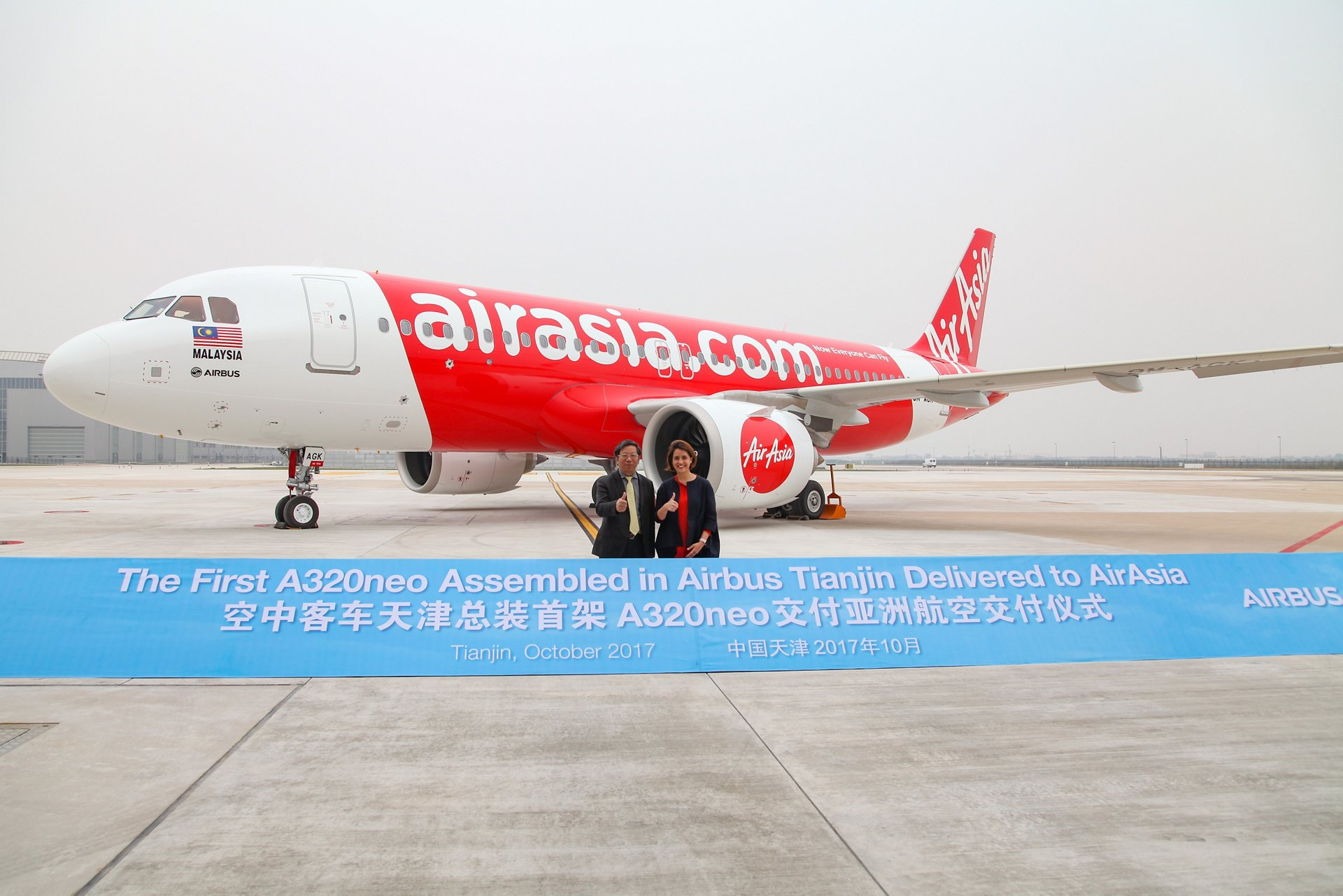 AirAsia has taken delivery of the first A320neo assembled at the Airbus Final Assembly Line Asia (FALA) at a dedicated ceremony in Tianjin, China.