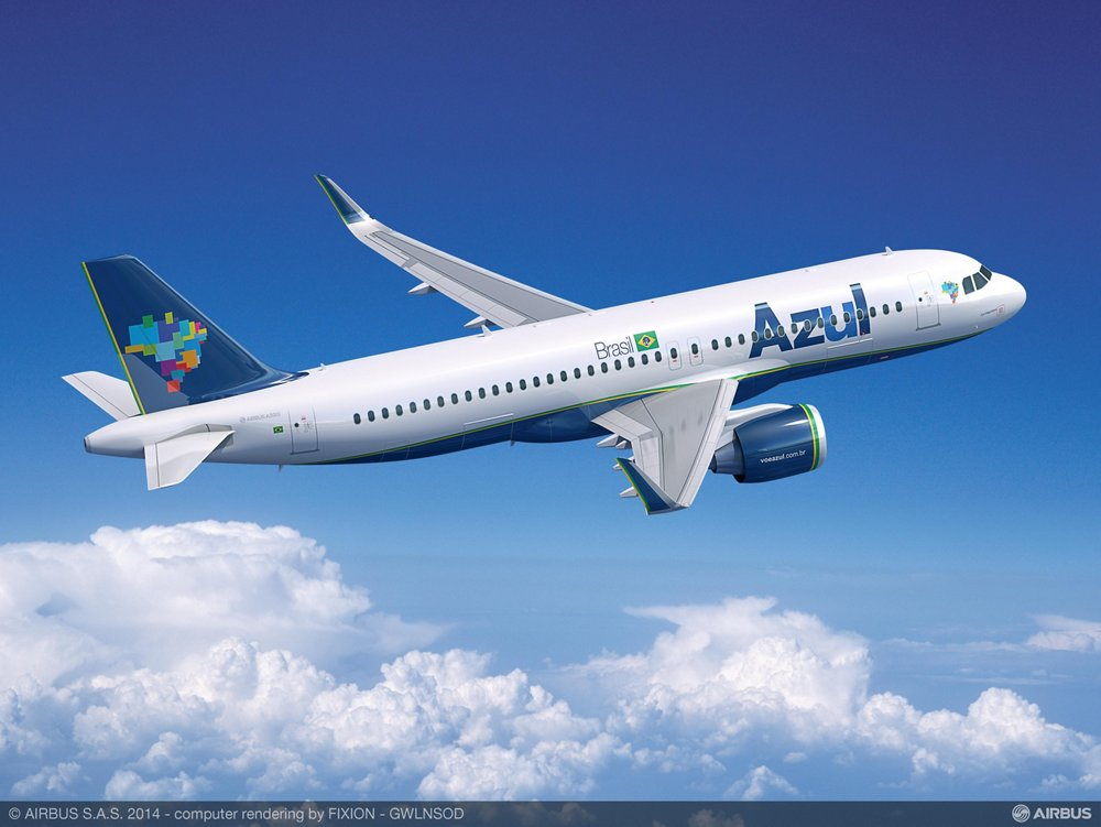 Computer rendering of an Airbus A320neo in Azul Brazilian Airlines livery.