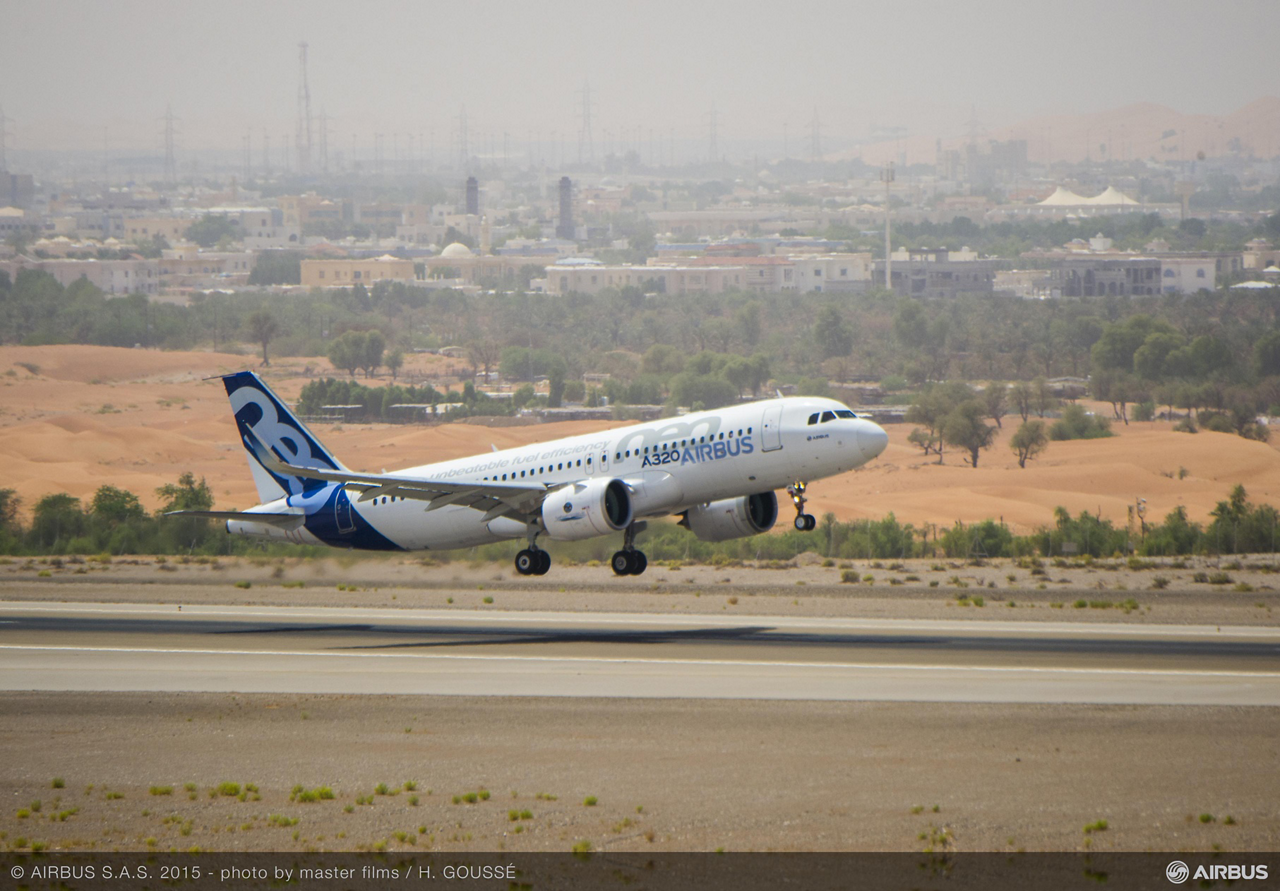 Hot weather testing with the A320neo test aircraft equipped with Pratt & Whitney's Pure Power PW1100G-JM engines was conducted in Al Ain during September 2015, paving the way for the version's Type Certification in November