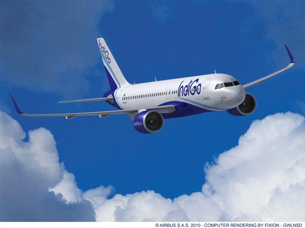 A computer rendering of an A320neo in the colours of IndiGo, which signed a Memorandum of Understanding with Airbus in 2011 for 180 A320 Family aircraft.