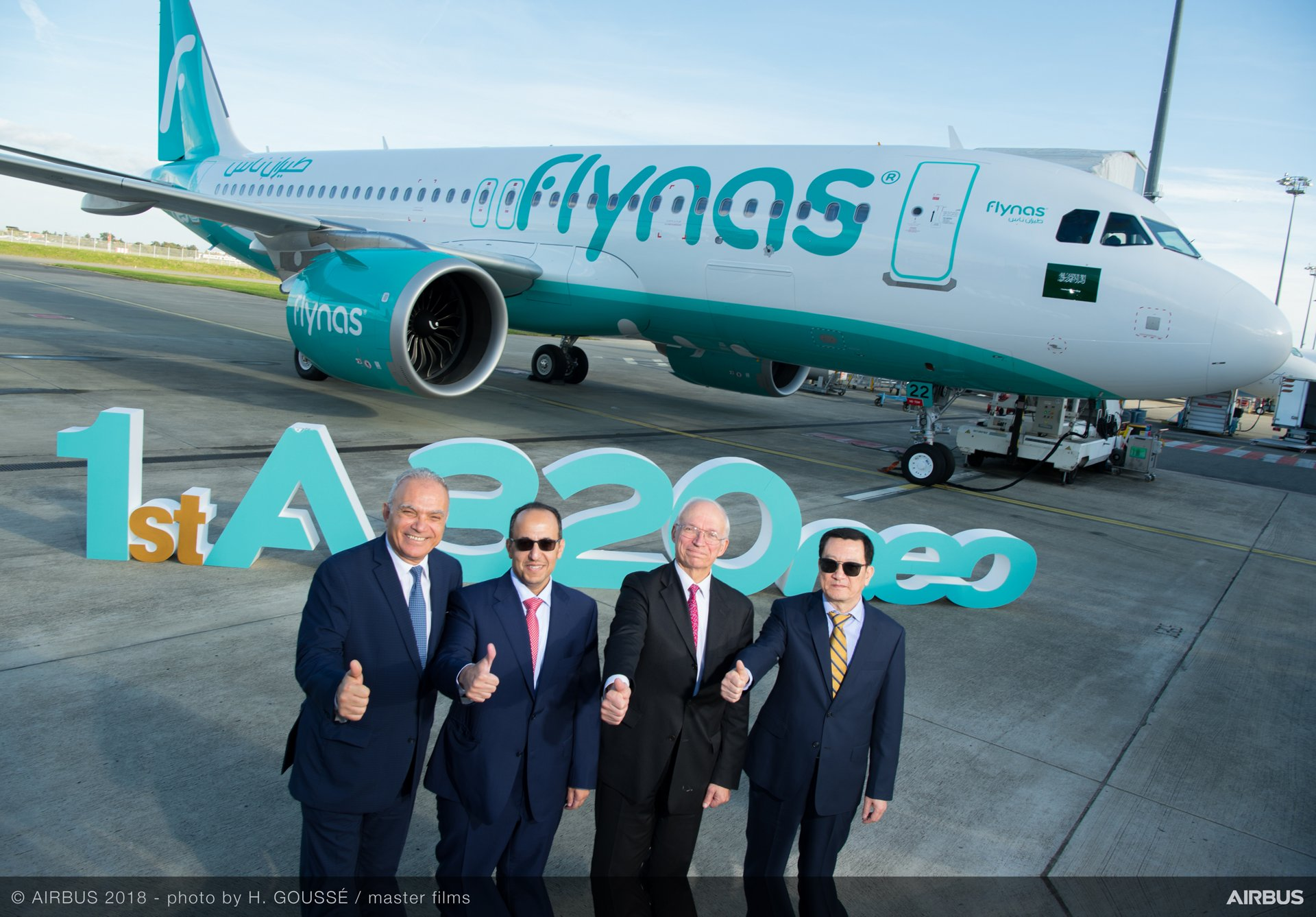 First A320neo delivery to Flynas; from left to right:  Fouad Attar, Head of Commercial Aircraft, Airbus Africa & Middle East; Bandar Al Mohanna, CEO of Flynas; Didier Evrard, Executive Vice President Programmes, Airbus Commercial; Huang Bo-Chief, Commercial Officer, CMB Leasing