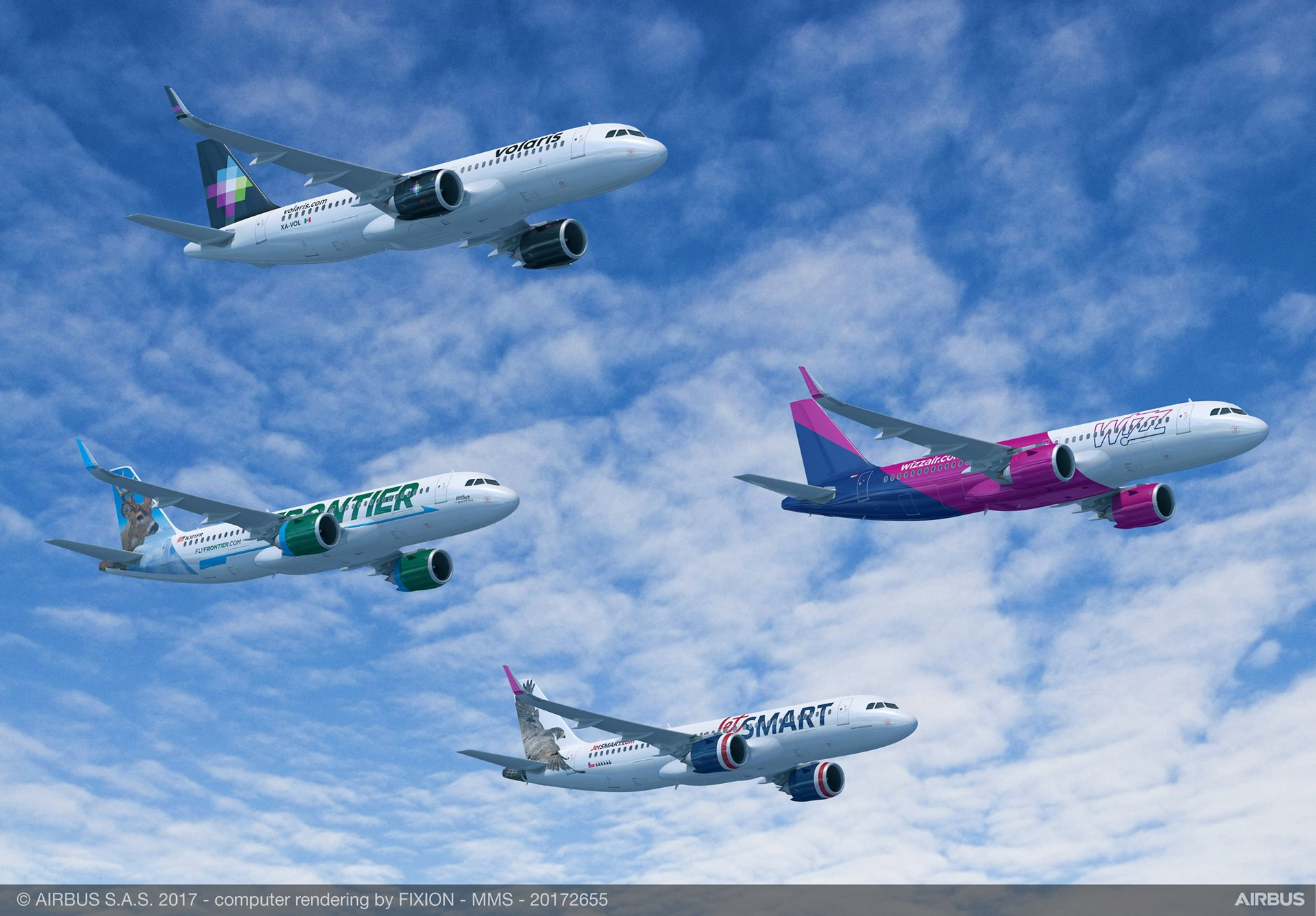 Indigo Partners has finalized agreements for the purchase of 430 A320neo Family aircraft – the largest commercial jetliner order in Airbus history – for its four portfolio airlines: Frontier Airlines (United States), JetSMART (Chile), Volaris (Mexico) and Wizz Air (Hungary)