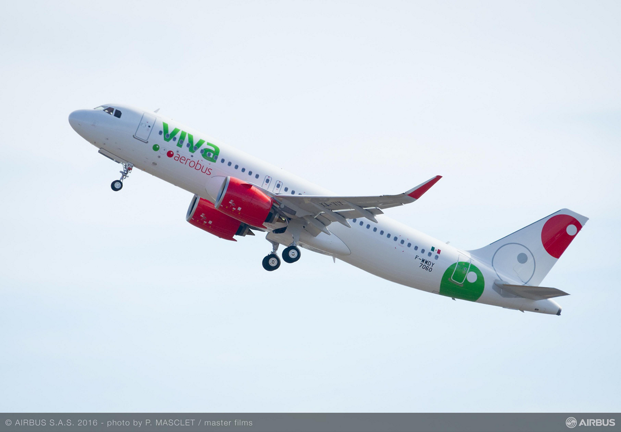 The first A320neo for Mexican low-cost carrier Viva Aerobus – delivered in October 2016 – is powered by Pratt & Whitney Pure Power PW1100-JM engines