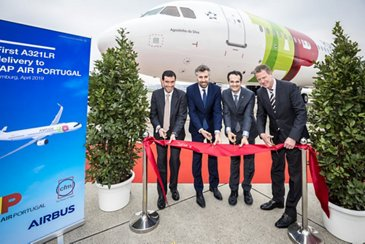 TAP Air Portugal A321LR delivery ceremony ribbon cutting