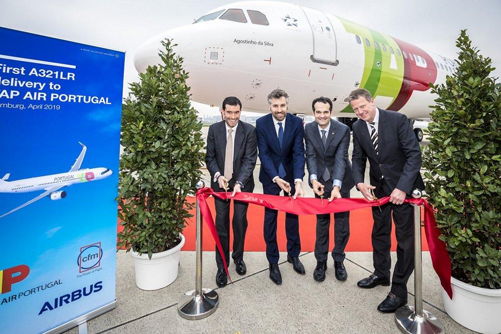 Entrega del primer Airbus A321LR de TAP Portugal.