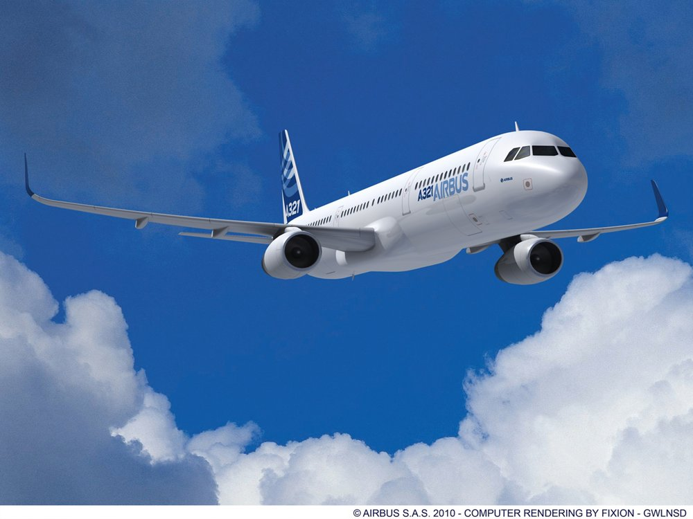 A computer rending of Airbus' A321ceo in the company's blue and white livery, equipped with Sharklets