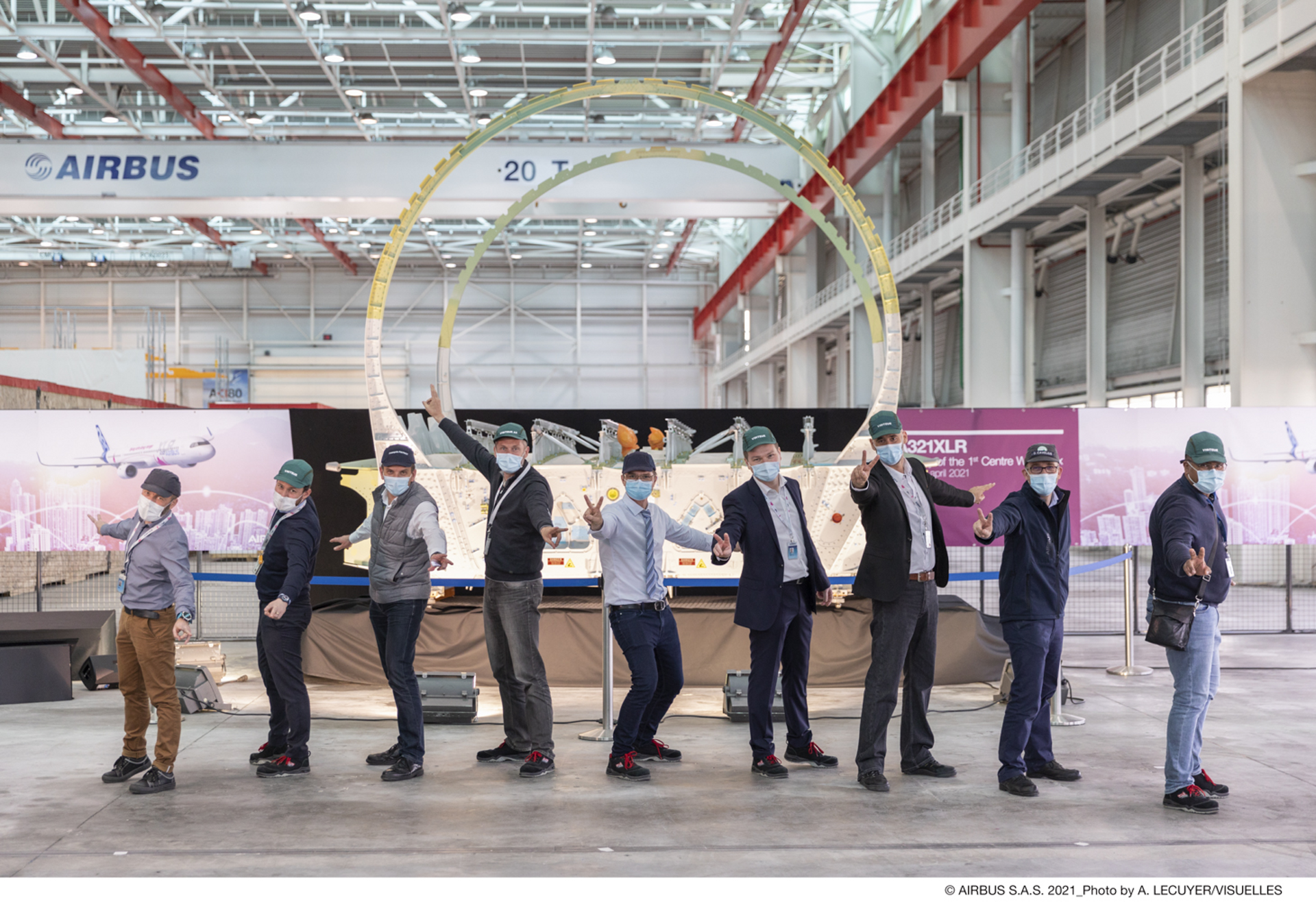 Airbus teams celebrate the first A321XLR Centre Wing Box delivery.