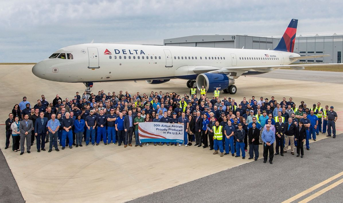 Airbus delivers the 50th A320 Family jetliner from Mobile, Alabama