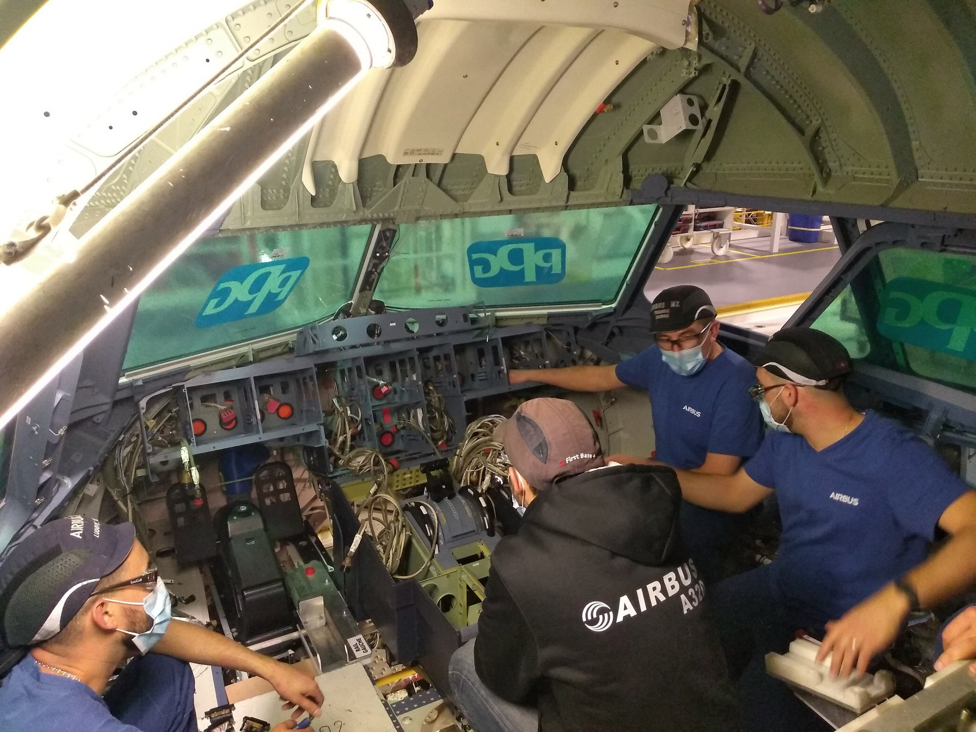 The PMU in Saint Nazaire was also used to verify installation of the new Main Instrument Panel (MIP) structure.